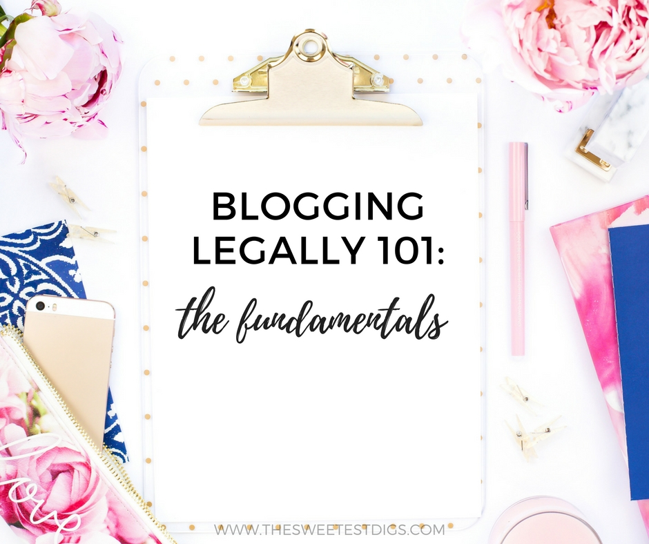 Blogging Legally 101    Following all the laws regarding copyrights, trademarks, images, disclosures, and more? Click over to the post for the blogging legal basics - what you need to know to avoid any legal pitfalls!