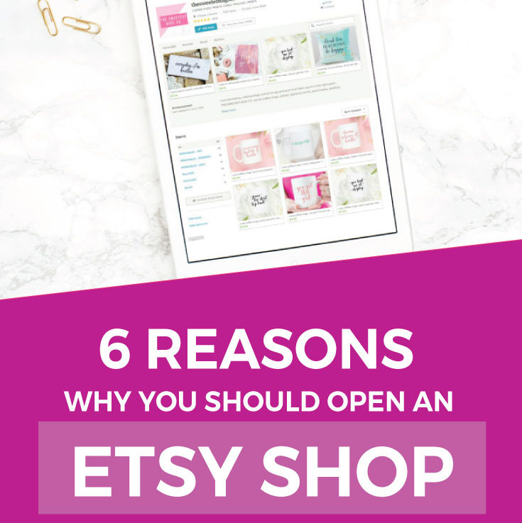 Etsy Shop Tips | Thinking about opening up an Etsy shop? Wondering if you should open up on your own e-commerce website instead? Here are the reasons why starting on Etsy is a great idea, and how launching a product line can be a good avenue for monetizing your blog. Click through for the full post and lots of etsy and blogging tips!