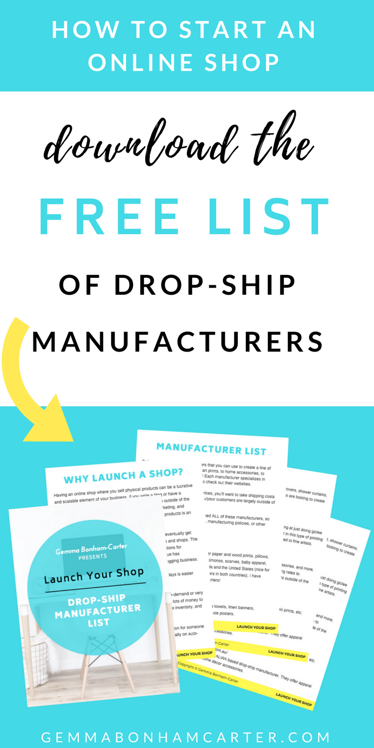 Want to start an online #shop to help grow your #blog income? Get the info on creating a line of physical products to sell on Etsy, Amazon, eBay, Shopify, etc using #dropshipping #manufacturing. Free download!
