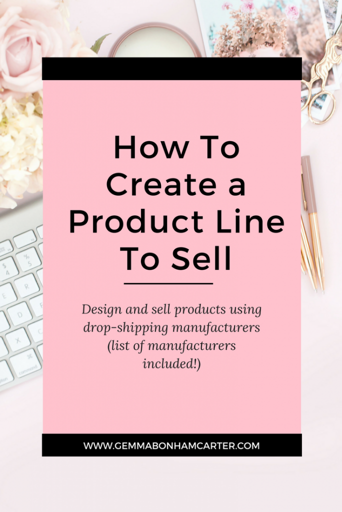 Want to start an online shop to help grow your blog income? Get the info on creating a line of physical products to sell on Etsy, Amazon, eBay, Shopify, etc using dropshipping manufacturing. Plus a list of manufacturers to get you started!