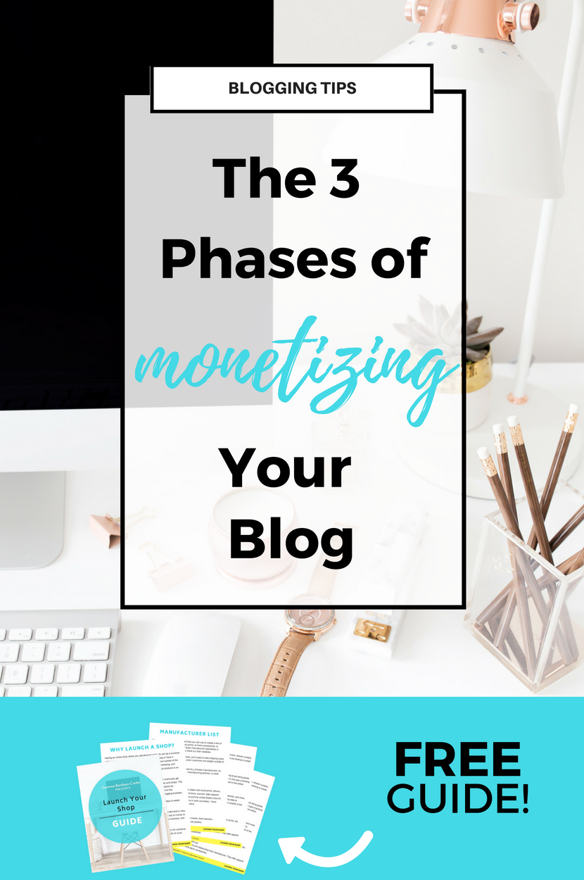 The 3 phases of monetizing your blog. Understanding these will help you grow your blog business, make more income, and establish your brand. #blogging #makemoneyblogging #bloggingtips #entrepreneurtips #onlineshop #monetizing