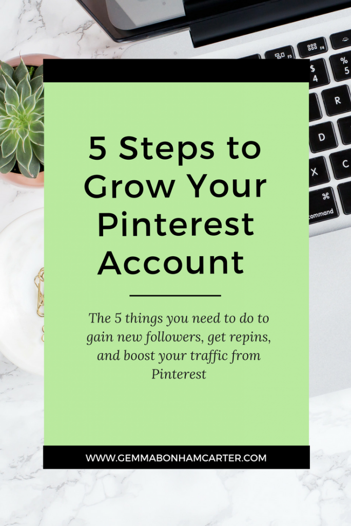 Grow your Pinterest Account - followers, repins, and traffic - by implementing some key strategies. Pinterest can help you grow your blog traffic and income in a huge way if used correctly!