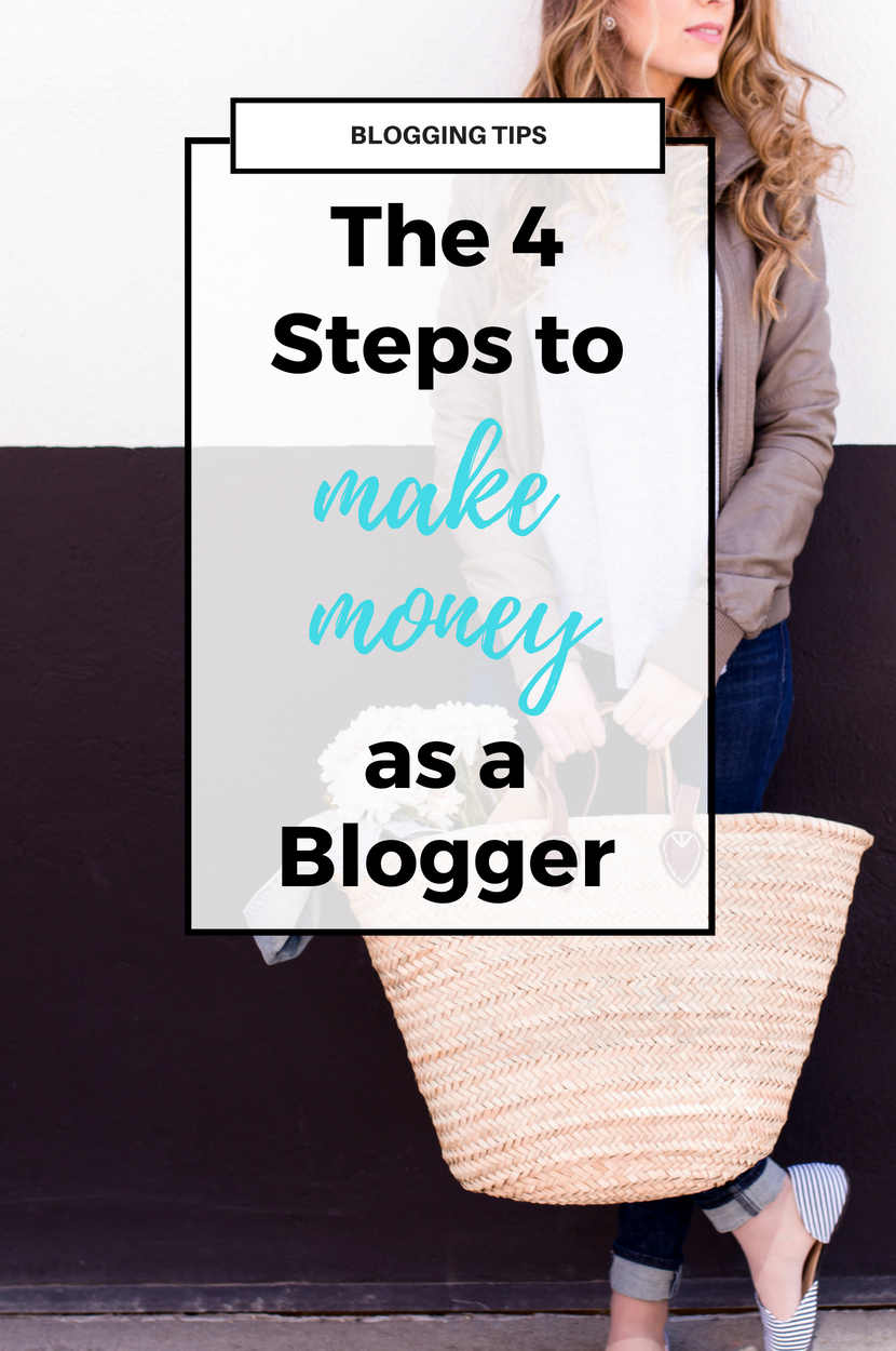 The 4 Steps to Make Money as a Blogger. Build your online business and income as a blogger or influencer with these key tips. Click through for the video and blog post!  #blogging #entrepreneur #onlineshop #businesstips #makemoneyblogging